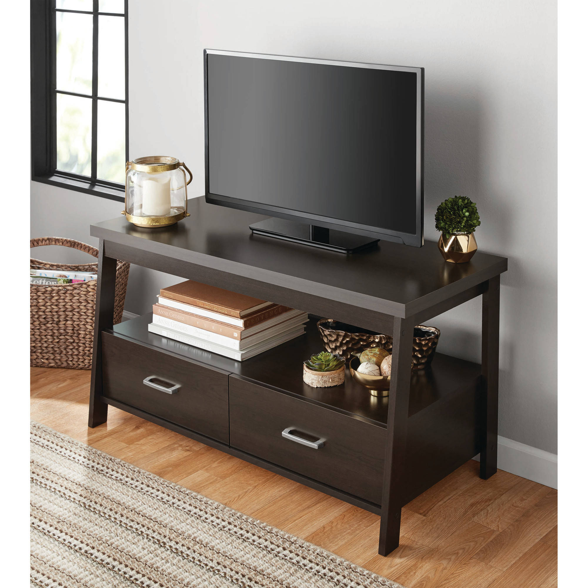 Mainstays Logan Tv Stand For Tvs Up To 47 Espresso Finish Walmart Com Walmart Com