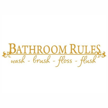 BATHROOM RULES Wash Brush Floss Flush Quote Saying Wall Sticker For - Sealing Brush