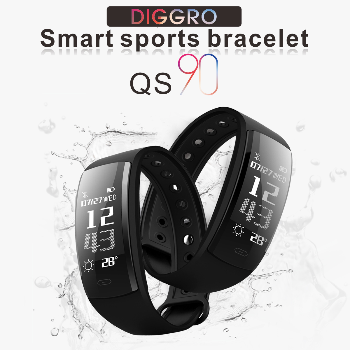 Diggro QS90 Smart Fitness Tracker, 0.96inch OLED Bluetooth4.0 Real-time Heart Rate Monitor Blood pressure and Blood Oxygen Monitor Multi-sport Pedometer Call Message Reminder IP67 Fitness
