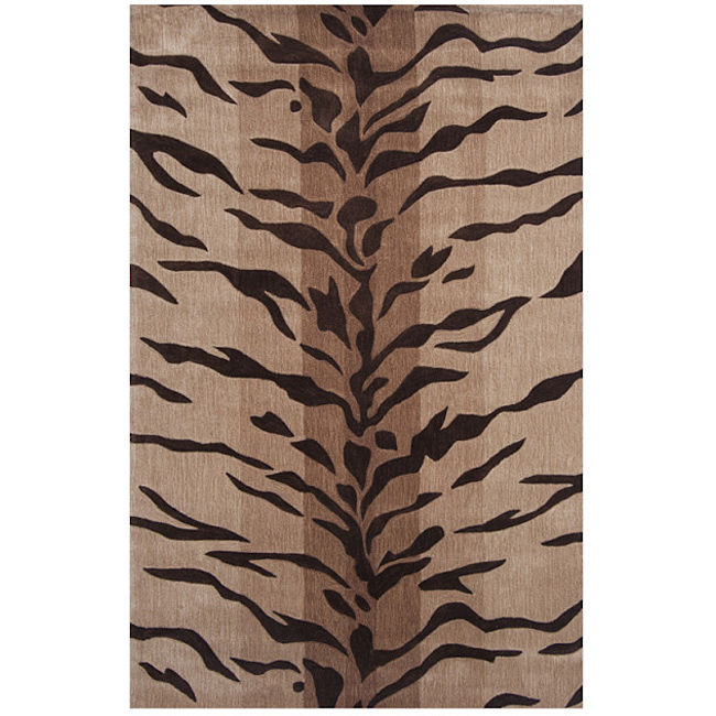 Liberty Dynasty Hand-tufted Beige/ Brown Rug (5'9 Round)