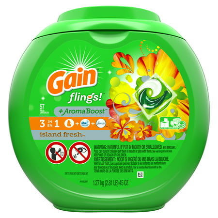 Gain flings! Laundry Detergent Pacs, Island Fresh, 57 count 45 oz