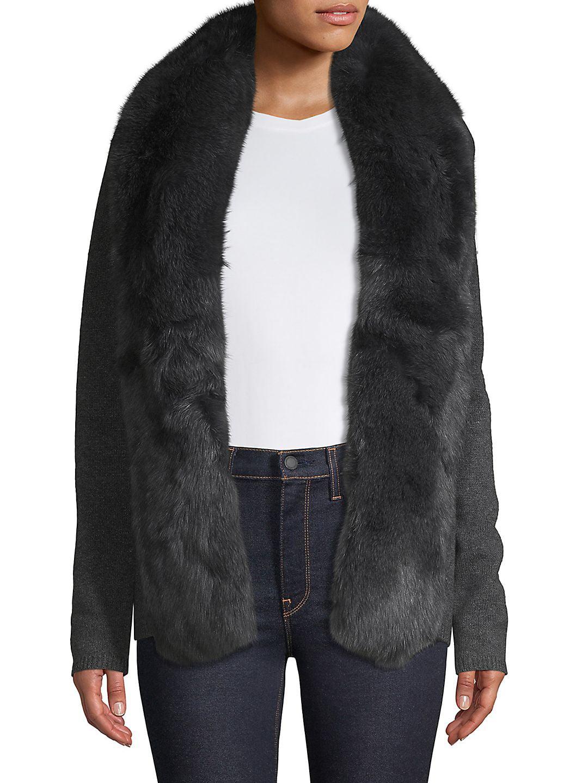 Fox Fur-Trimmed Cashmere Cardigan