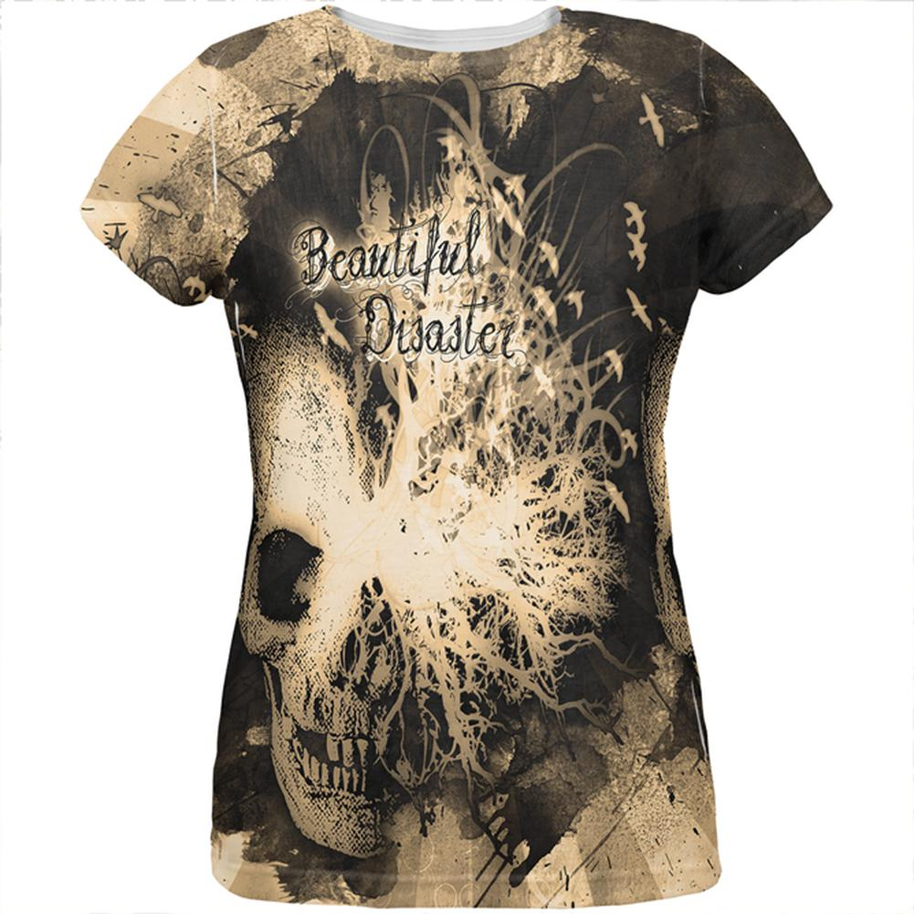 Beautiful Disaster Sepia Dreaming Skull All Over Womens T Shirt