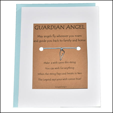 Angel Bracelet (Thoughtful Greeting Card and Wish Bracelet Guardian Angel with Wing Charm - Charmed)