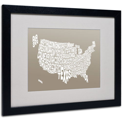 "Trademark Fine Art ""TAUPE-USA States Text Map"" Matted Framed by Michael Tompsett"