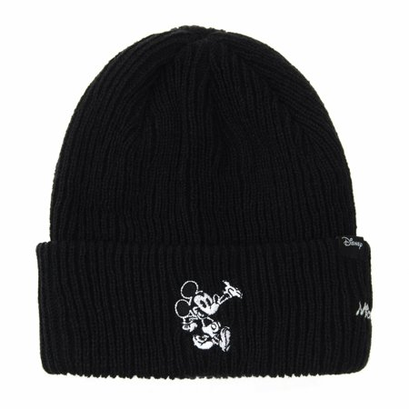 WITHMOONS Disney Mickey Mouse Ribbed Beanie Hat Slouchy CR5840 (Black)