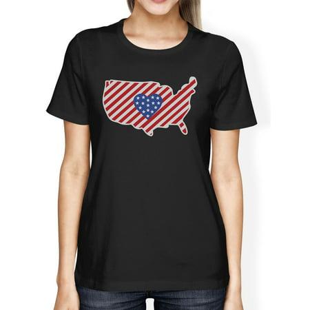 USA Map American Flag Heart Shape Womens Black Graphic Cotton