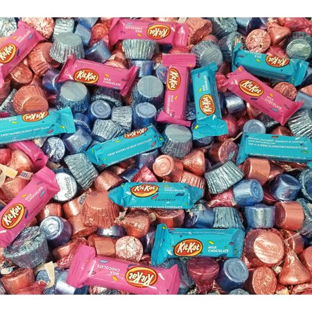 Gender Reveal Chocolate Treats Blue Pink Wrap - Hershey's Kisses Milk Chocolate, Kisses Caramel, Blue Pink Reese's Miniatures, Kit Kat Miniatures, Rolo Chewy Caramel - Baby Shower Candy Bulk 1 Pound - Chocolate Dipped Halloween Treats