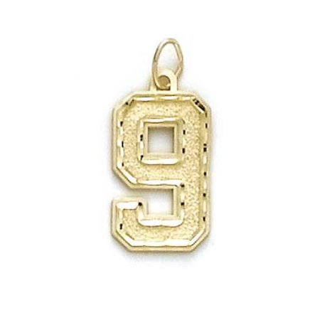 14k Yellow Gold Large Sports Number 9 Pendant - 1.4 Grams