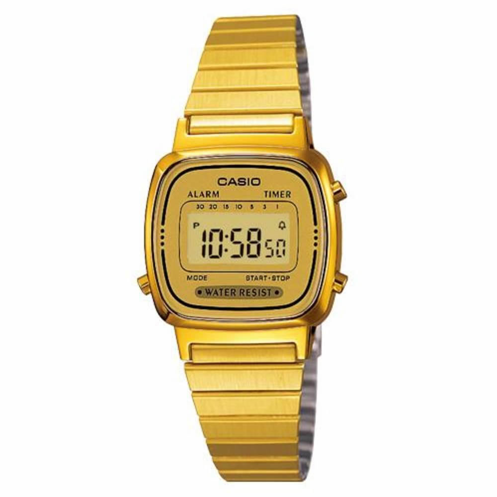 Casio Women's LA-670WG-9D Gold Stainless-Steel Quartz Casual Digital Watch