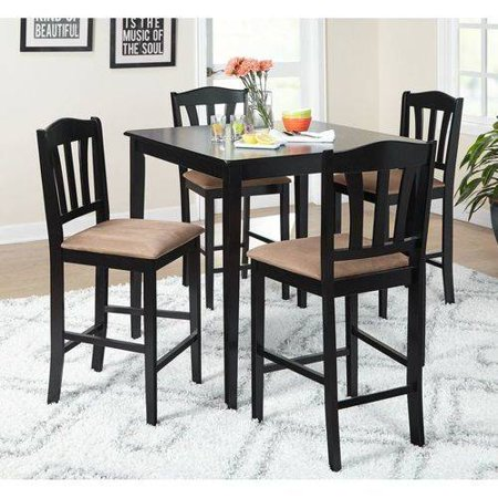 Metropolitan Counter Height 5-Piece Dining Set, Black 5 Piece Counter Height Table