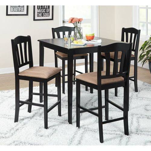 Round Kitchen Table And Chairs Walmart Kitchen Table Sc 1: Metropolitan Counter Height 5-Piece Dining Set, Black