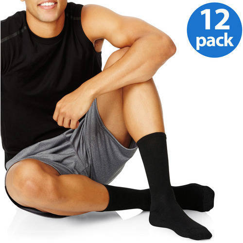 Hanes Men's FreshIQ Comfort Toe Seam Crew Socks 12-Pack