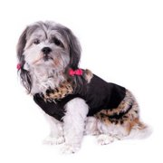 Brown Leopard Trim Dress Pet Clothes Apparel For Dog - Small (Gift for Pet)