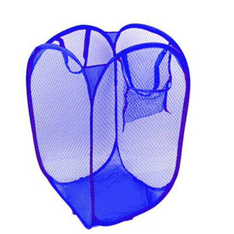 Foldable Pop Up Washing Laundry Basket Bag Hamper Mesh Storage Pueple