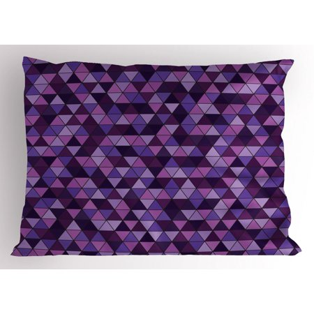 Geometric Pillow Sham, Triangle Grid Pattern Mosaic Tile in Lavender Plum Purple Amethyst Tones of Color, Decorative Standard King Size Printed Pillowcase, 36 X 20 Inches, Multicolor, by -