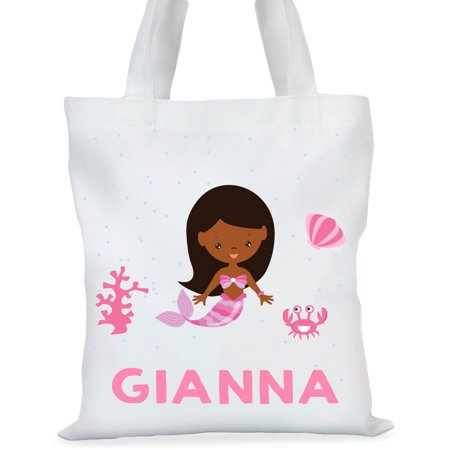 Custom Tote Bag (Mermaid Princess Custom Girls Tote Bag, Sizes 11