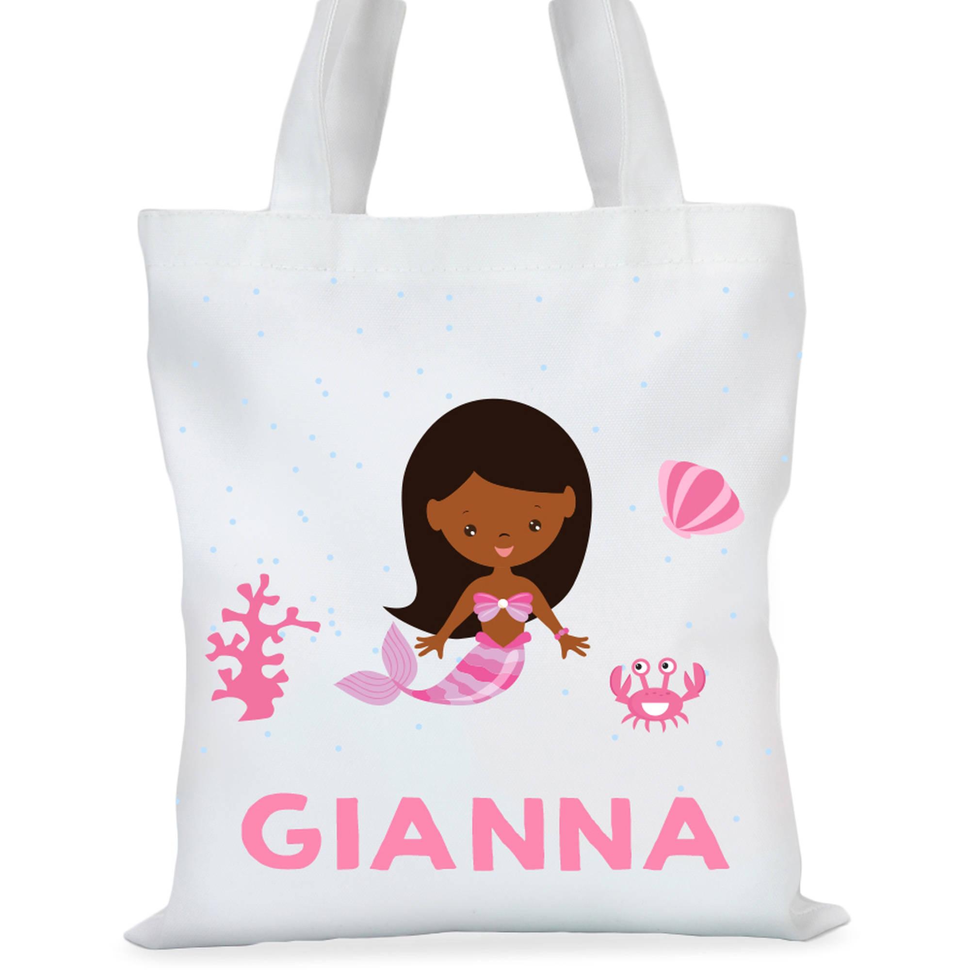 "Mermaid Princess Custom Girls Tote Bag, Sizes 11"" x 11.75"" and 15"" x 16.25"""