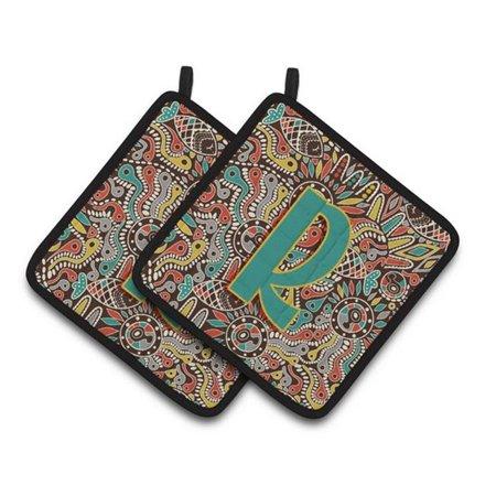 Carolines Treasures CJ2013-RPTHD Letter R Retro Tribal Alphabet Initial Pair of Pot Holders, 7.5 x 3 x 7.5 in. - image 1 de 1
