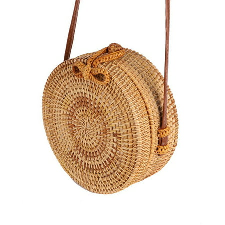 Fysho Handwoven Round Rattan Bag Shoulder Leather Straps Natural Chic Handbag straw rattan crossbody bag