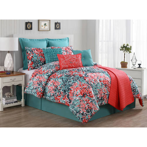 VCNY Capri Coral and Turquoise Floral Bedding Comforter Set, Euro Shams Included