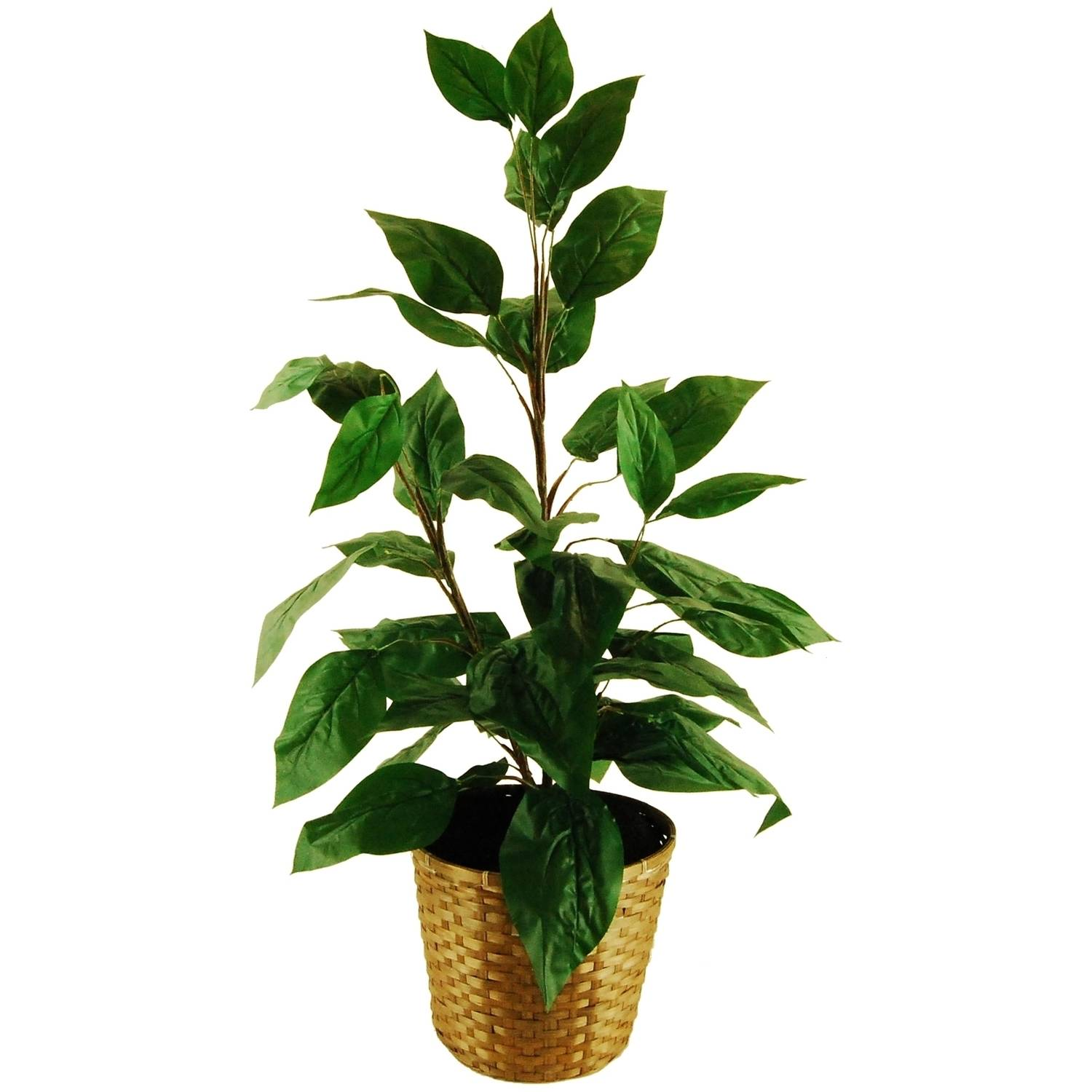"""48"""" Artificial Philodendron Floor Plant In a Basket with Faux Dirt"""