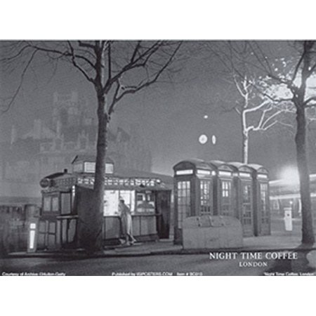 Night Time Coffee London 5x7 Poster VINTAGE TRAVEL DINER CAFE ENGLAND LONDON FOG EVENING (Best Halloween Nights Out In London)