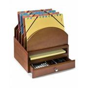 Bindertek Stacking Wood Desk Organizers Step Up File/Tray/Drawer Kit, Cherry ...