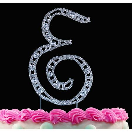 Crystal Monogram - Yacanna Vintage Crystal Monogram Cake Toppers Silver Cake Initial E Large