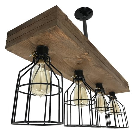 (Farmhouse Lighting Triple Wood Beam Vintage Decor Chandelier Light - Great in Kitchen, Bar, Industrial, Island, Billiard, Foyer and Edison Bulb. Wooden Reclaimed Rustic Four Light With Cages)