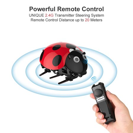 Ladybug RC Cars Intelligent Remote Insect Robot DIY Kits Radio Control Cartoon Toys Remote Truck Toys Best Gift for Kids With 2.4Ghz Remote Control Electronic Car with