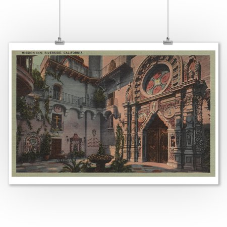 Riverside, CA - View of Mission Inn Courtyard (9x12 Art Print, Wall Decor Travel Poster) - Halloween Parties Riverside Ca