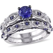 2 Carat T.G.W. Created Blue Sapphire and 1/10 Carat T.W. Diamond 10kt White Gold Milgrain Design Vintage Style Bridal Set