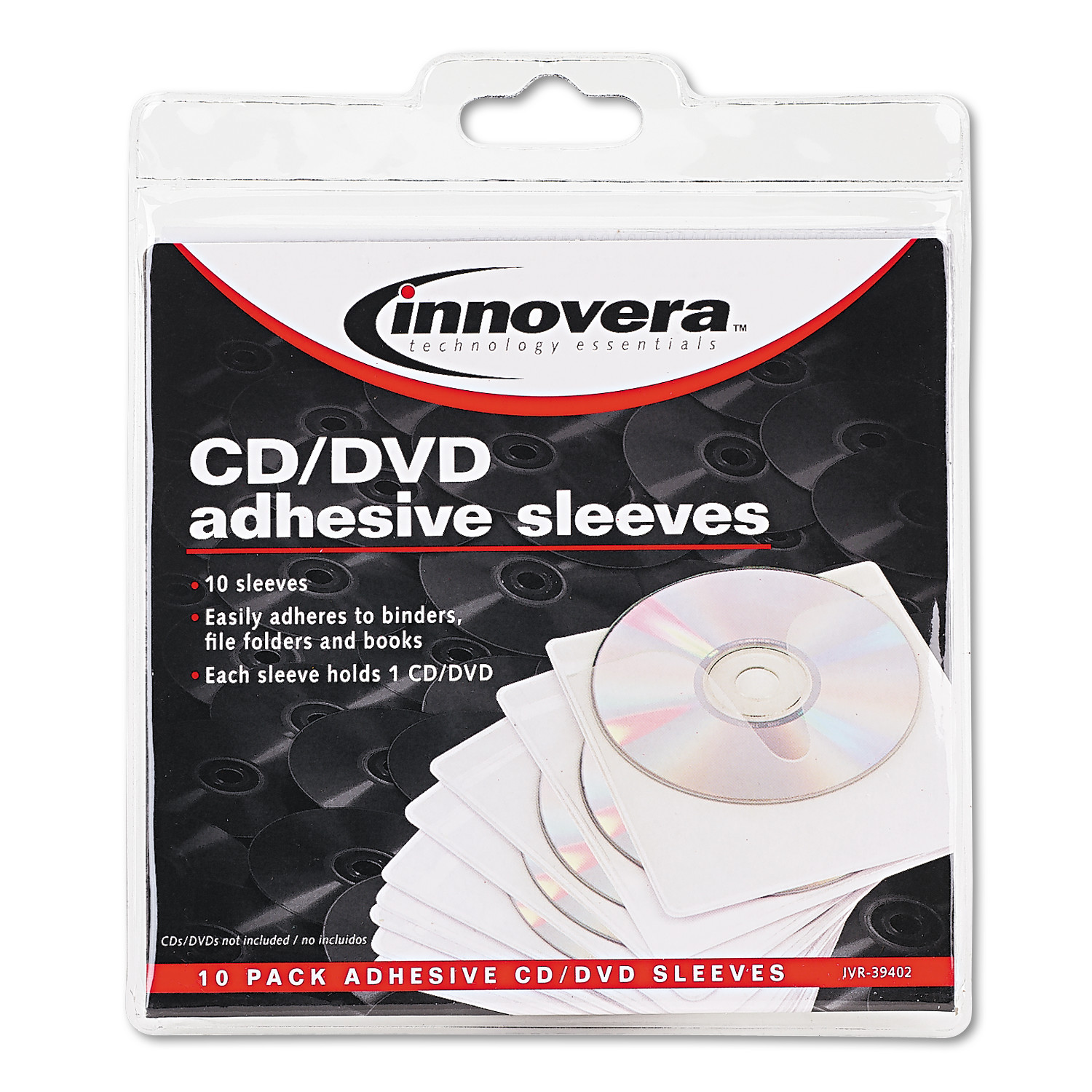Innovera Self-Adhesive CD/DVD Sleeves, 10/Pack