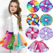 Baby Girls Kids Tutu Skirt Tulle Dance Ballet Dress Toddler Rainbow Bow Costume