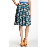 Bobeau NEW Blue Women's Size Large L Fit & Flare Printed A-Line Skirt
