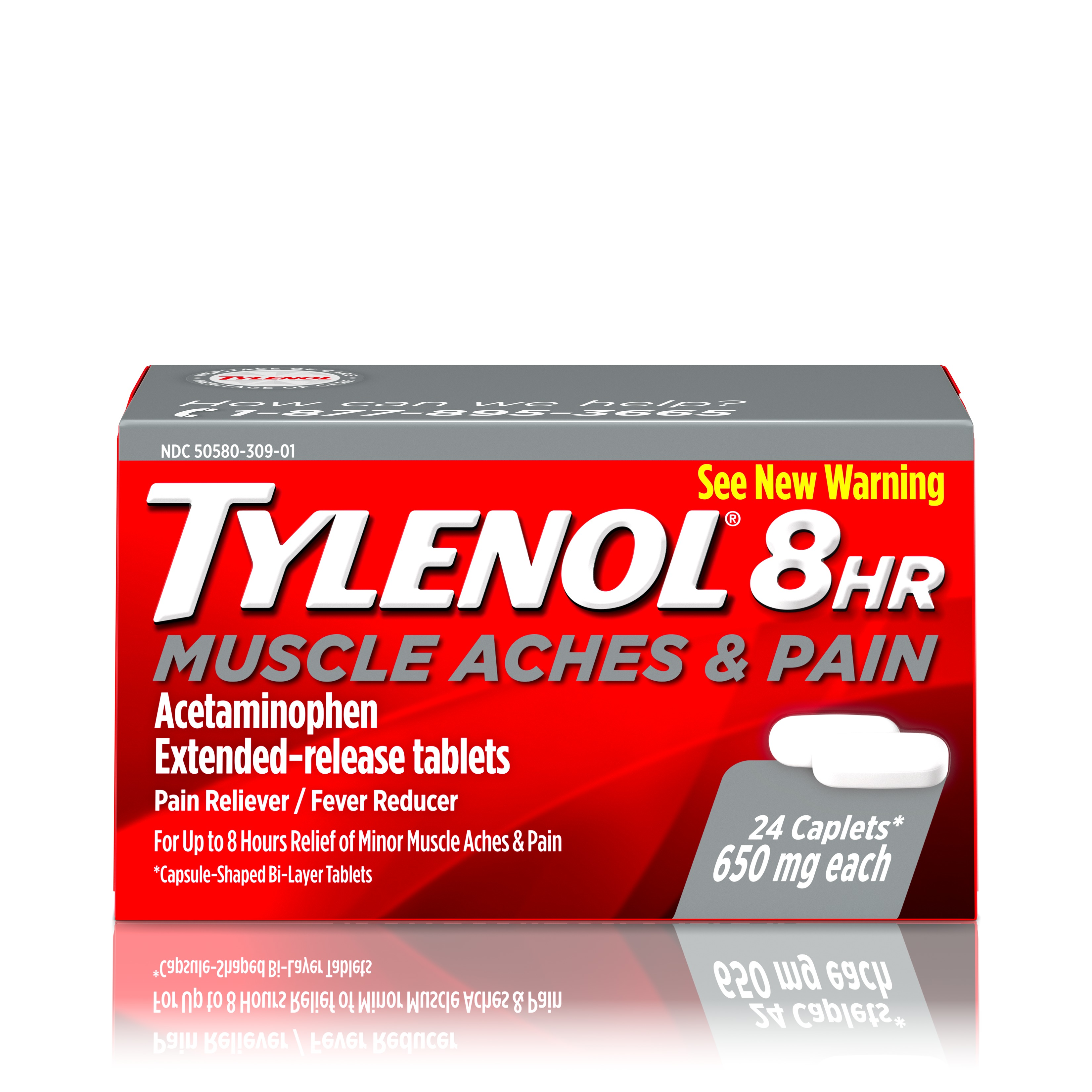 Tylenol 8 Hour Muscle Aches & Pain Tablets with Acetaminophen, 24 ct