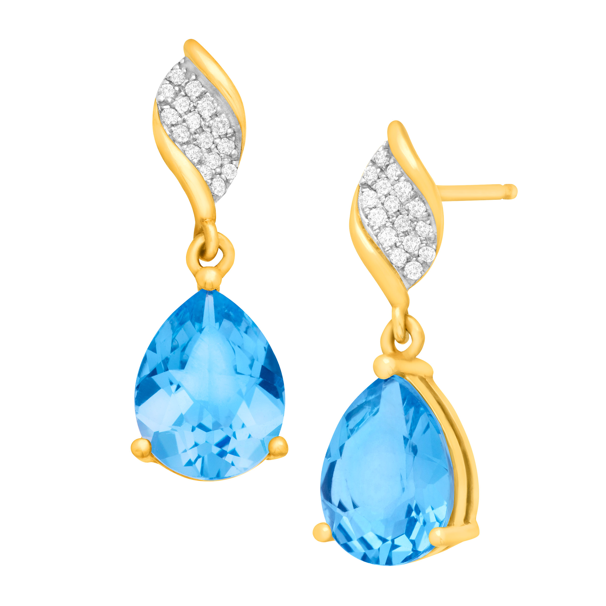 4 1 2 ct Pear-Cut Natural Swiss Blue Topaz Drop Earrings with Diamonds in 10kt Yellow Gold by Richline Group