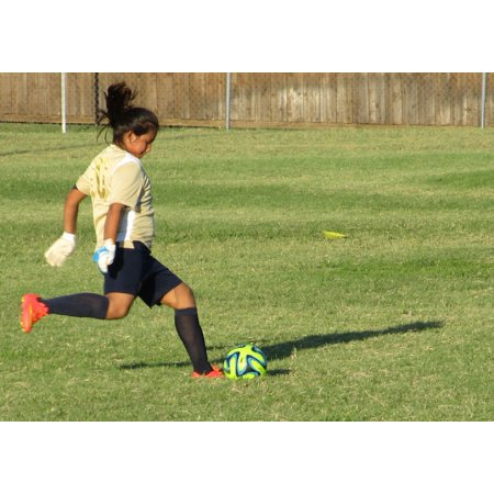 Canvas Print Girl Ball Game Soccer Kick Youth Kicking Sport Stretched Canvas 10 x 14 - Girls Kick Balls