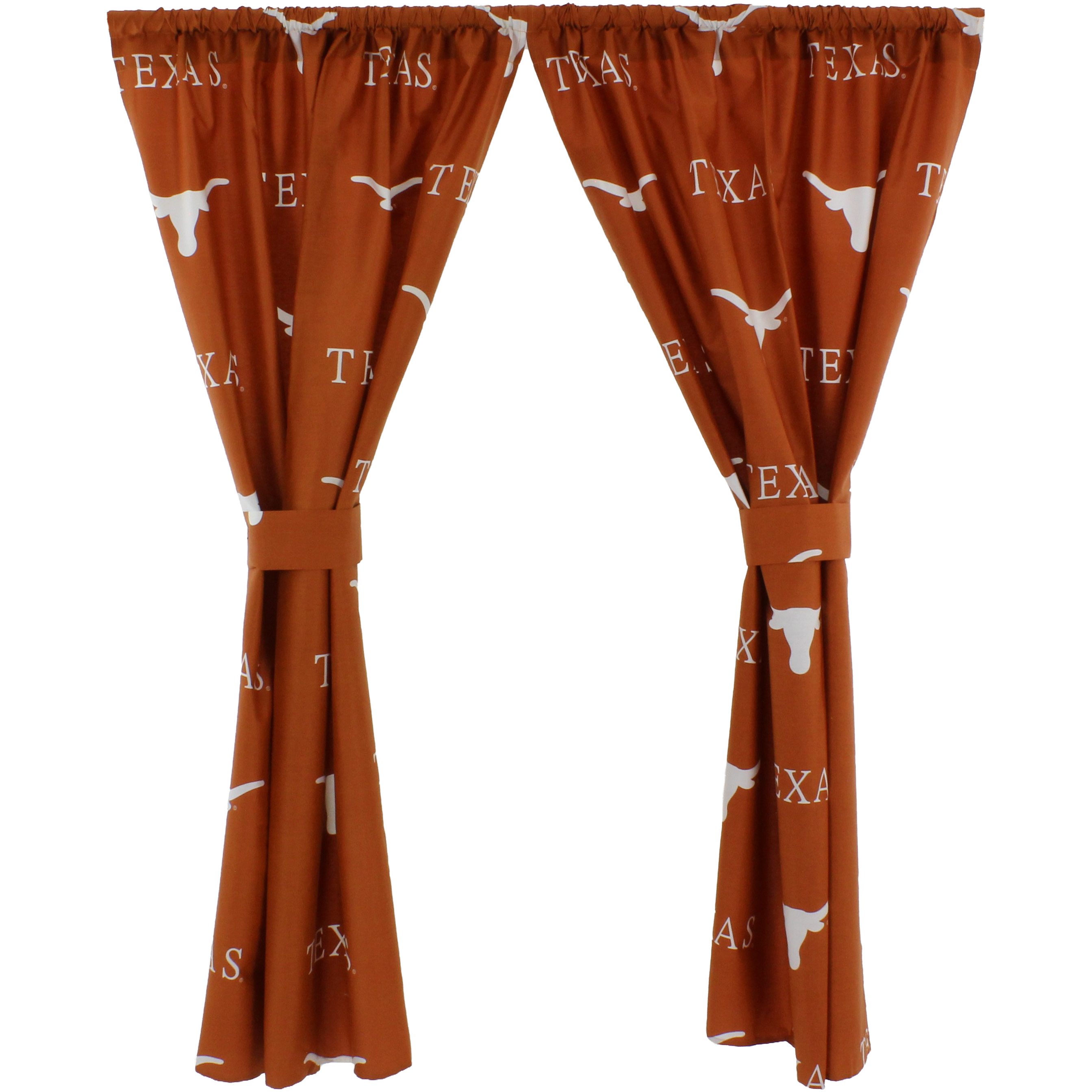 "Texas Longhorns 100% Cotton, 63"" Curtain Panels, Set of 2"