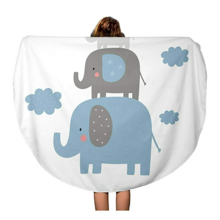 NUDECOR 60 inch Round Beach Towel Blanket Birthday Cute for Baby Elephant Graphic Doodle Boy Adorable Travel Circle Circular Towels Mat Tapestry Beach Throw - image 1 of 2