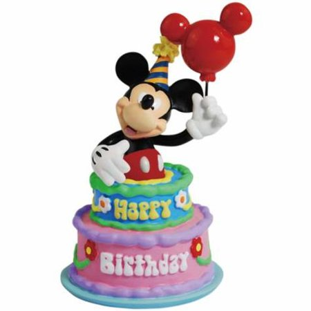 Disney Mickey Mouse Figurine Inside Happy Birthday Cake With Balloon