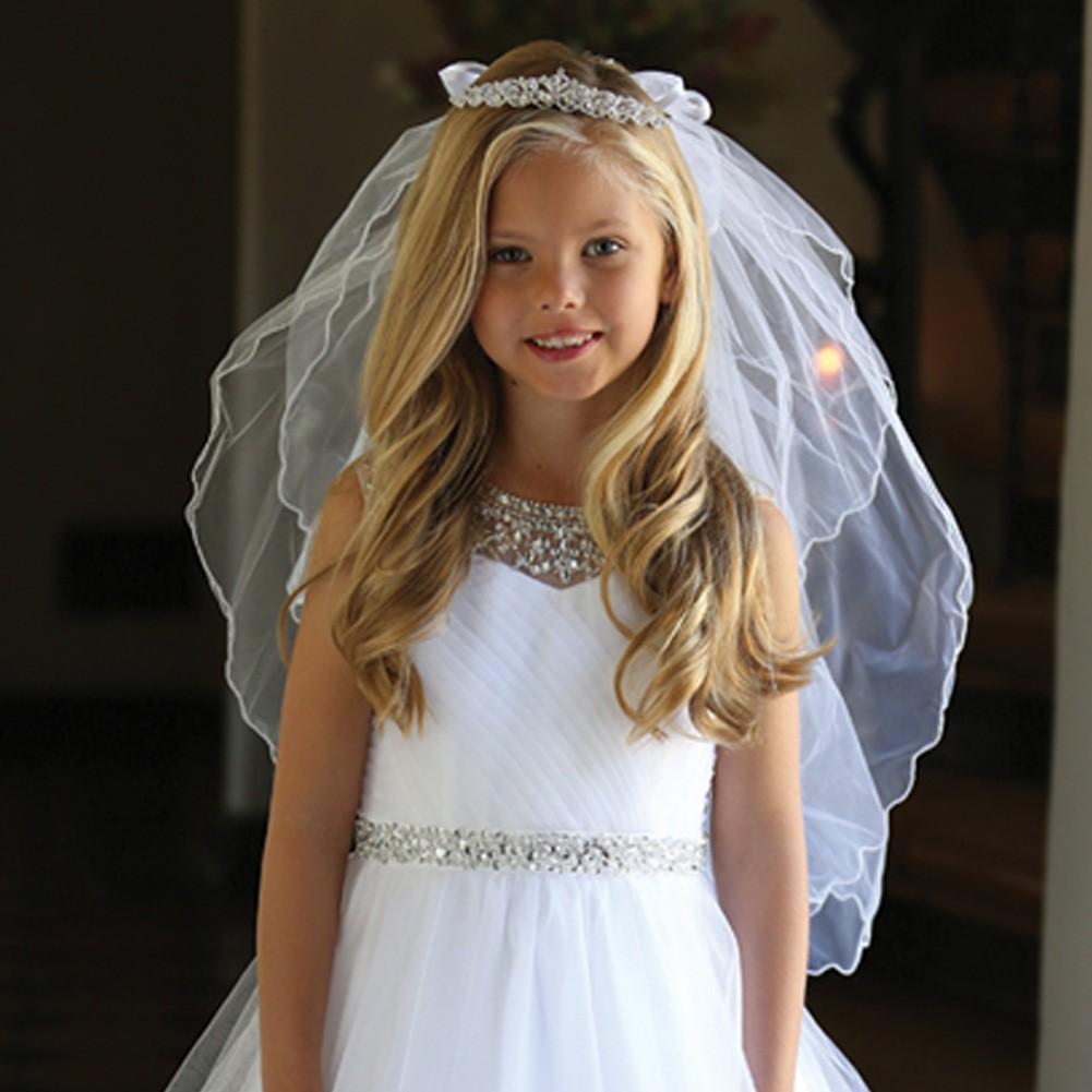 Angels Garment Girls White Bow Rhinestone Tiara Communion Flower