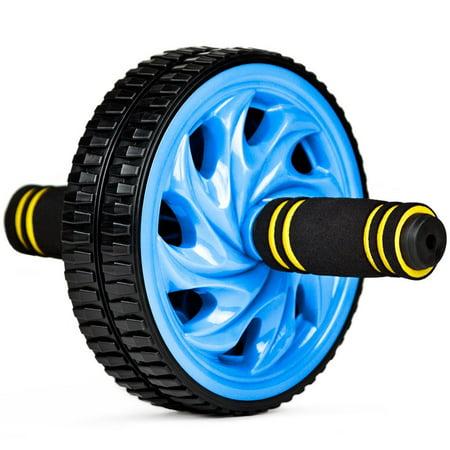 Exercise Ab Wheel, Blue Dual No-slip Wheels Comfort Grips Ab Workout Wheel