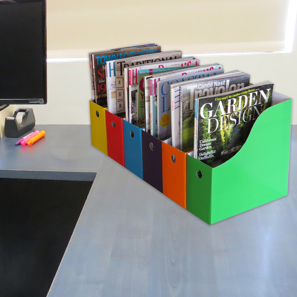 Evelots Magazine File Holder Storage Organizer W/ Labels, Multicolored, 1 or 2 Sets of 6