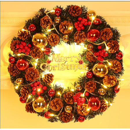 GLiving Christmas Wreath with LED Lights, Christmas Decoration Pine Cones Red Ball Battery/Plug Operated Xmas Decor for Front Doors Fireplace Gate ()