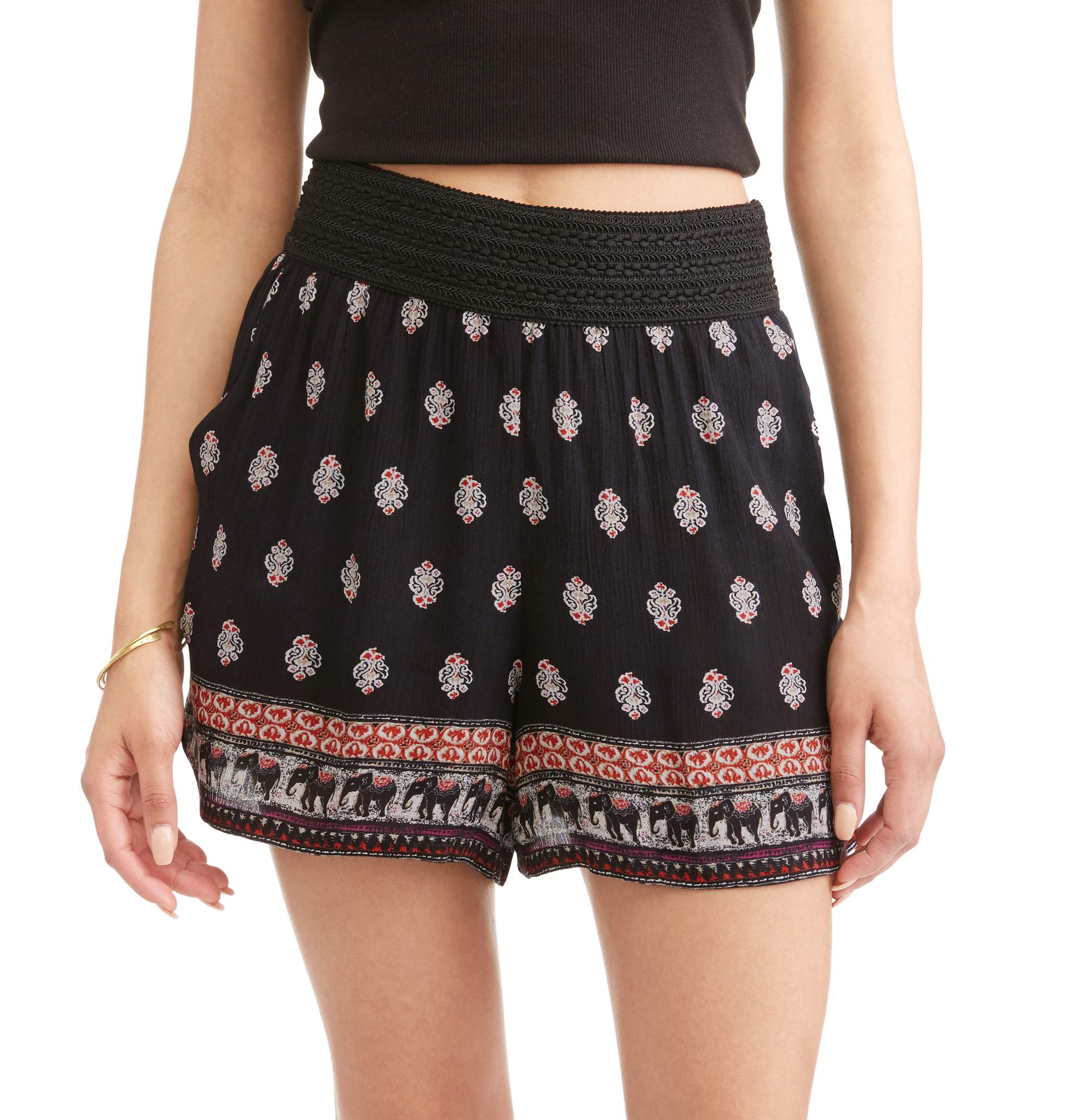 French Laundry Women's Printed Shorts with Crochet Waist Detail
