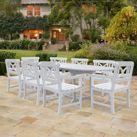Vifah Oval Extension Table Cross Back Armchair Outdoor Wood Dining Set