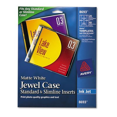 Inkjet CD/DVD Jewel Case Inserts, Matte White, 20/Pack - AVE8693, Professional-looking label. By (Jet Insert)