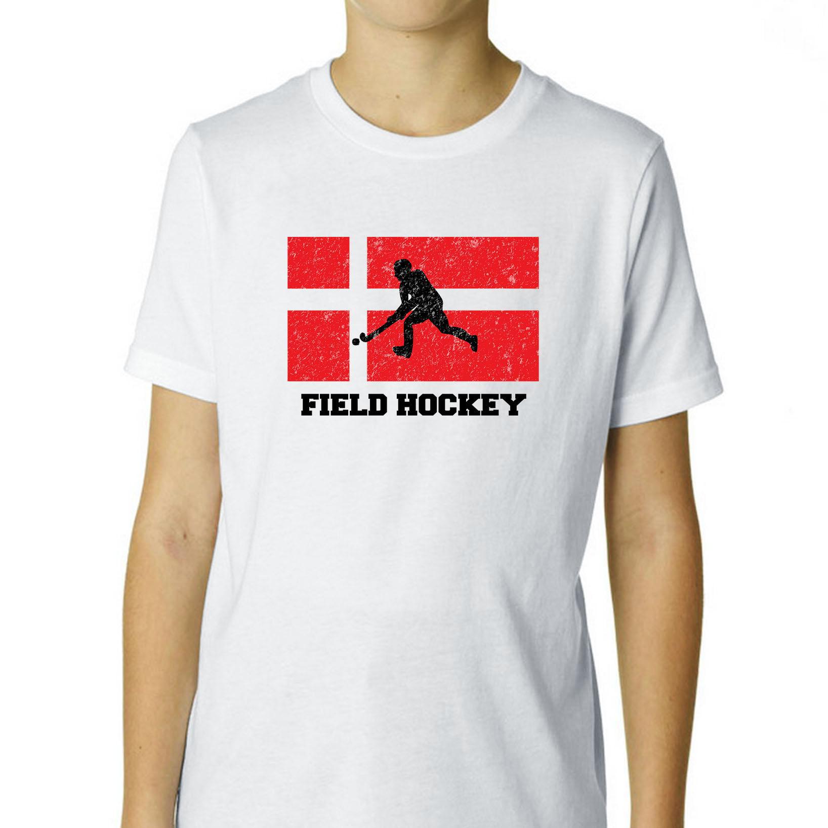 Denmark Olympic Field Hockey Flag Silhouette Boy's Cotton Youth T-Shirt by Hollywood Thread